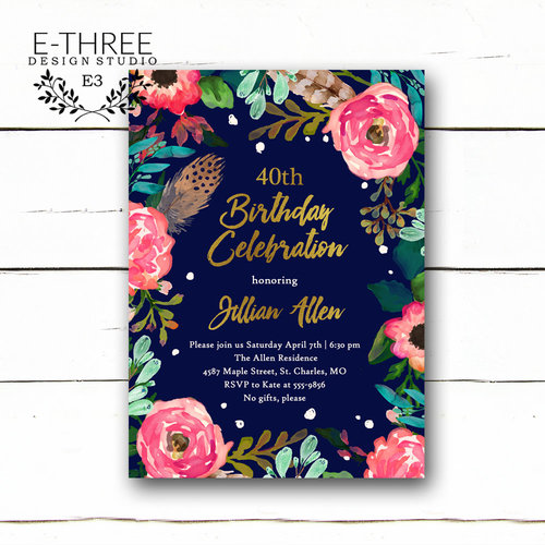 Floral birthday party invitation adult birthday party invite floral birthday party invitation adult birthday party invite pink turquoise navy gold mint 40th birthday stopboris Image collections