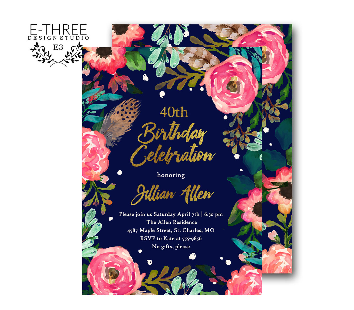 Floral Birthday Party Invitation - Adult Birthday Party Invite - Pink, Turquoise, Navy, Gold, Mint - 40th Birthday