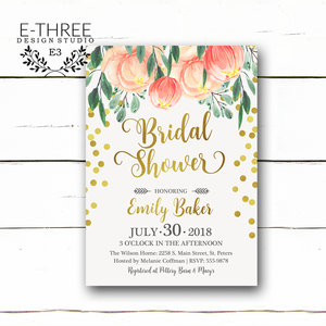 peach and coral bridal shower invitations floral bridal shower invites wedding shower invitation