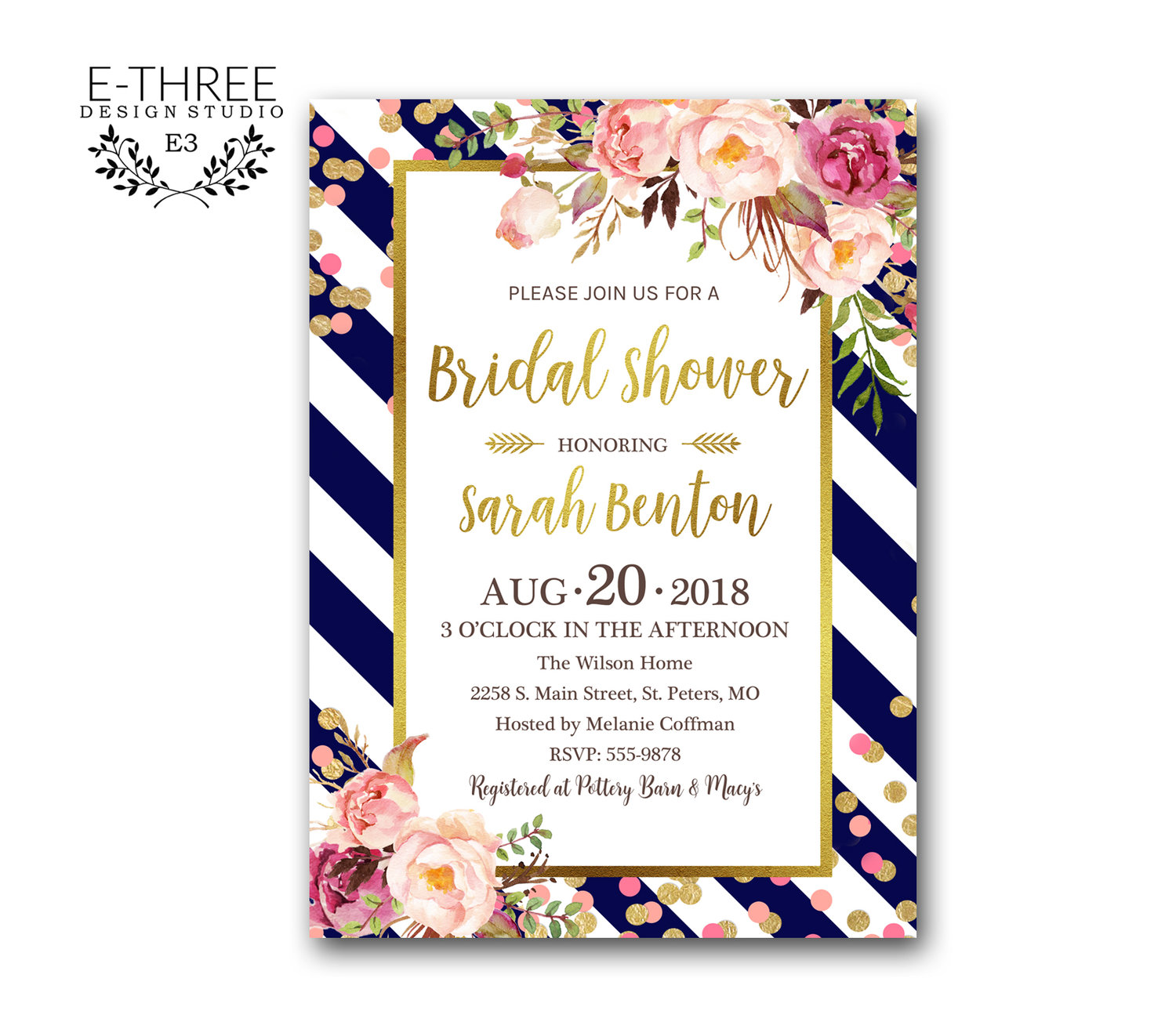 gold confetti bridal shower invitation navy pink and gold wedding shower invitations boho floral bridal invites pink flowers