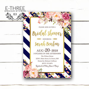 gold confetti bridal shower invitation navy pink and gold wedding shower invitations