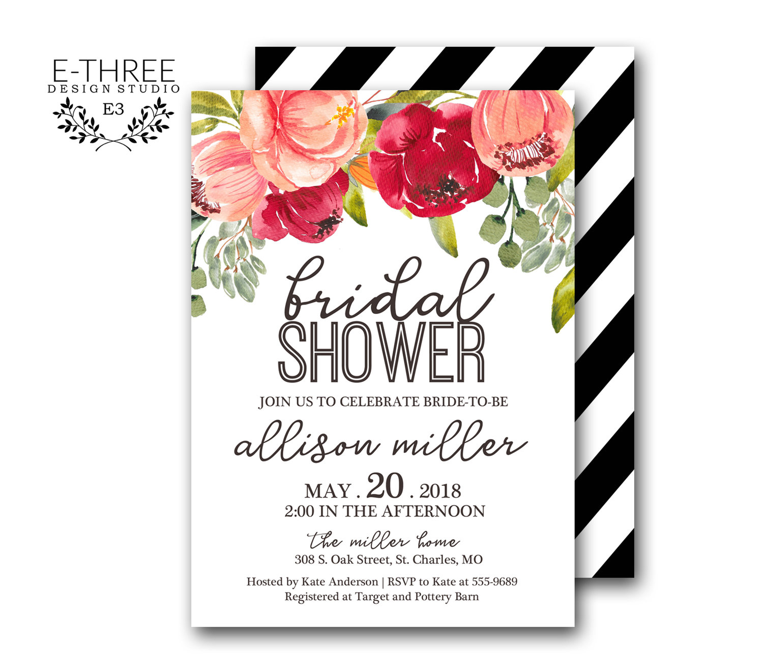 Boho Floral Bridal Shower Invitations - Pink Flowers Wedding Shower ...