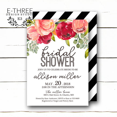 Boho floral bridal shower invitations pink flowers wedding shower boho floral bridal shower invitations pink flowers wedding shower invitation watercolor flowers and black and white stripes shower invites filmwisefo