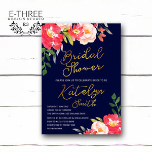 Bridal e three design studio coral and navy bridal shower invitations gold foil wedding shower invites navy and gold filmwisefo