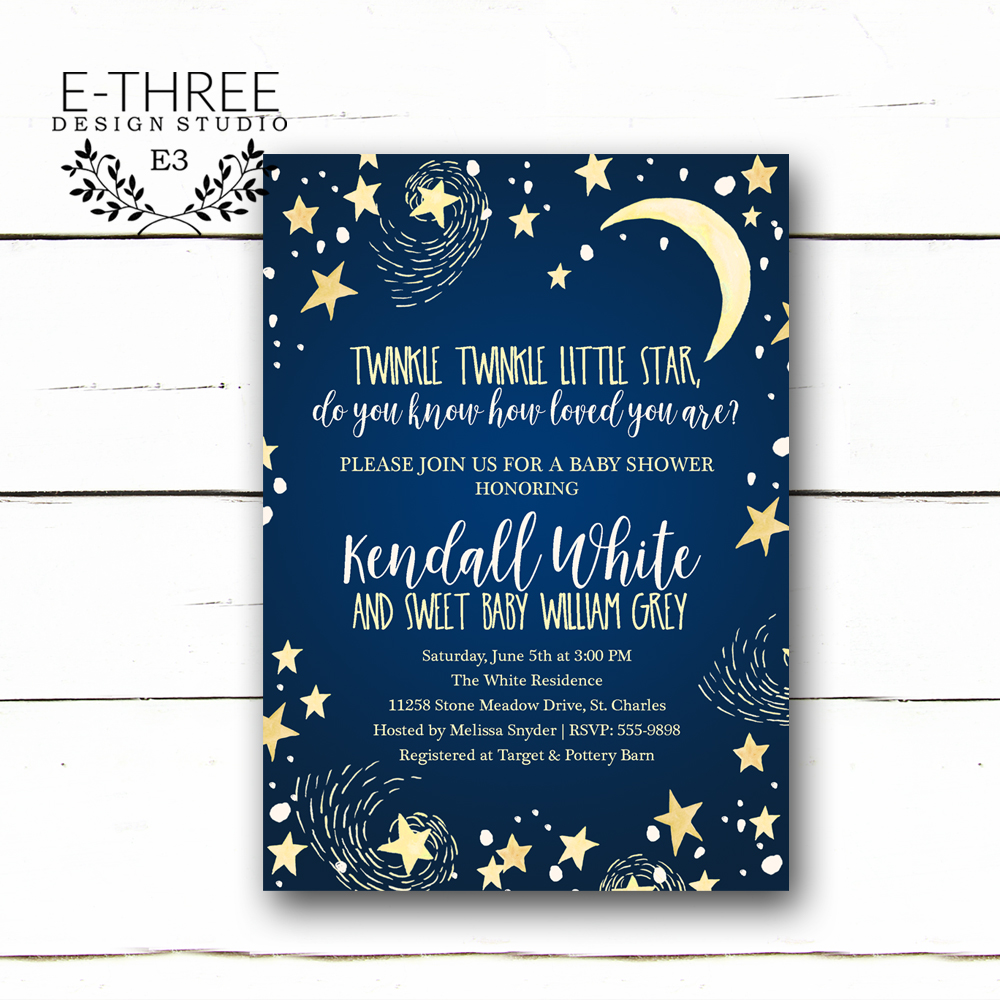 Twinkle Twinkle Little Star Baby Shower Invitations   Boys Baby Shower  Invitation   Navy Blue And ...