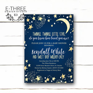 Baby e three design studio twinkle twinkle little star baby shower invitations boys baby shower invitation navy blue and filmwisefo