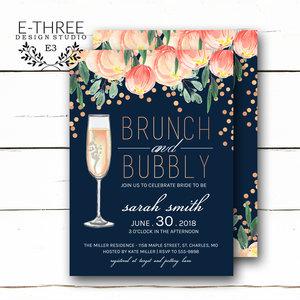 Bridal e three design studio brunch and bubbly bridal shower invitation floral bridal brunch shower invitations rose gold filmwisefo