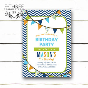 Birthday e three design studio boys birthday party invitation navy lime green orange aqua pendant banner invite chevron boys party filmwisefo