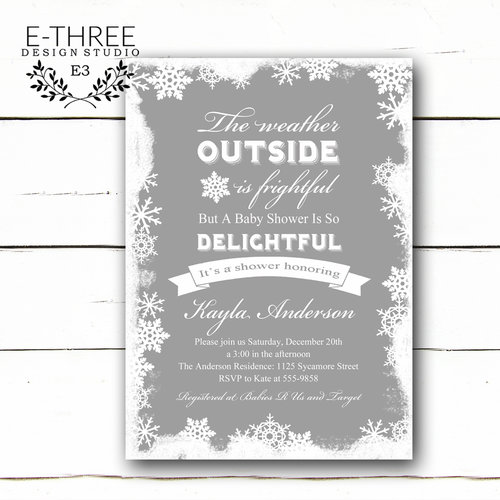 Winter baby shower invitation snowflake shower invitations winter baby shower invitation snowflake shower invitations christmas shower gender neutral shower gray and white filmwisefo