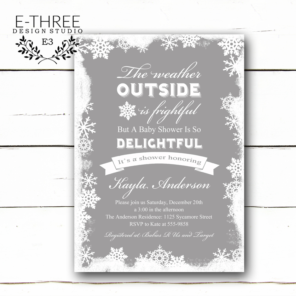 Winter Baby Shower Invitation - Snowflake Shower Invitations ...