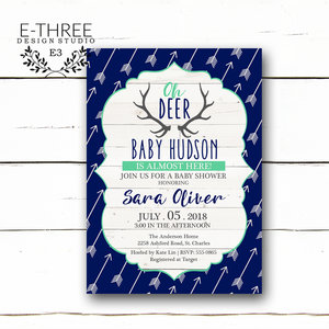 Baby e three design studio deer antler baby shower invitations rustic baby boys shower invitation navy blue and mint filmwisefo