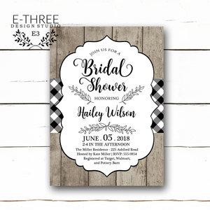 Bridal e three design studio rustic bridal shower invitations black and white gingham wedding shower invitation wood and plaid filmwisefo