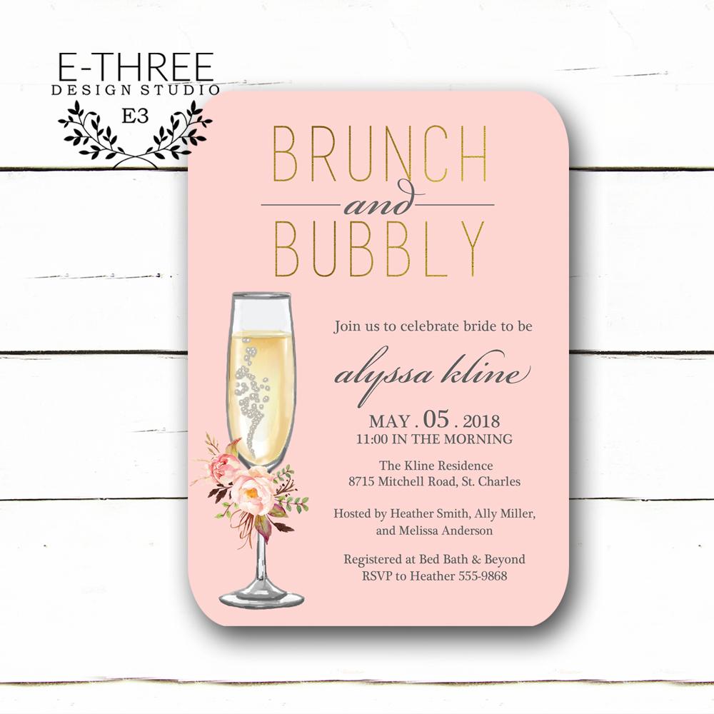 4d41166e5d70 Floral Brunch and Bubbly Bridal Shower Invitations - Blush Pink and Gold  Bridal Shower Invitation - Bridal Brunch - Champange