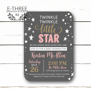 Baby e three design studio girls twinkle twinkle little star baby shower invitation baby girl shower invitations pink filmwisefo Images