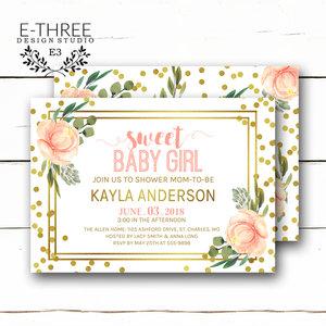 Baby e three design studio pink and gold baby shower invitations baby girl shower invitation gold foil confetti filmwisefo