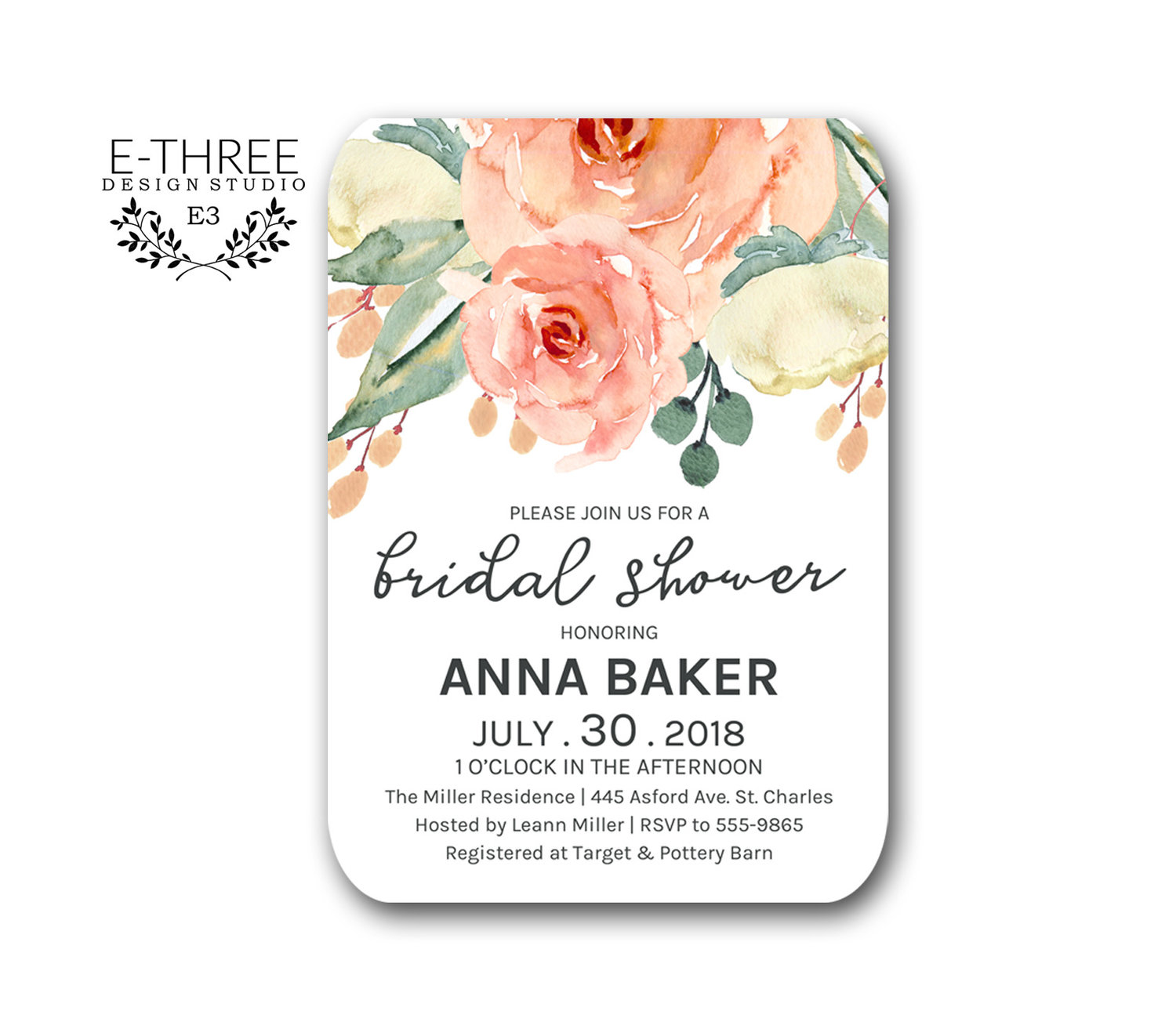 Pink and Peach Floral Bridal Shower Invitations - Wedding - Greenery ...