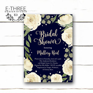 Bridal e three design studio white floral bridal shower invitations navy blue and white wedding shower invitation flowers and filmwisefo