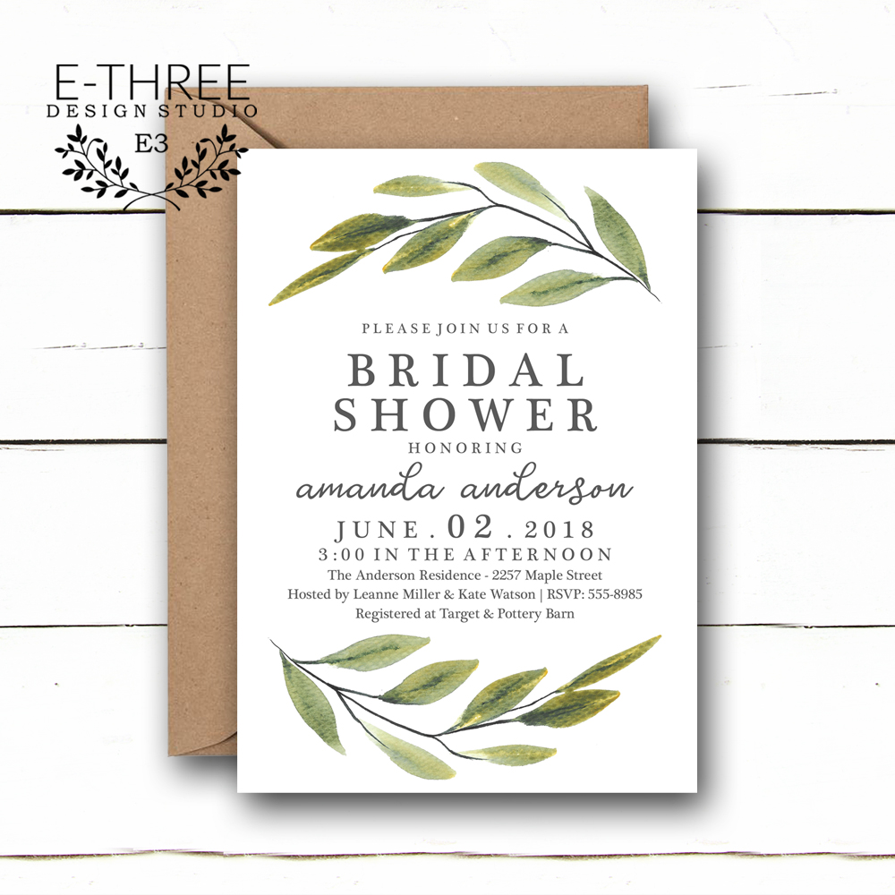 Modern Greenery Bridal Shower Invitations Green Leaves Simple