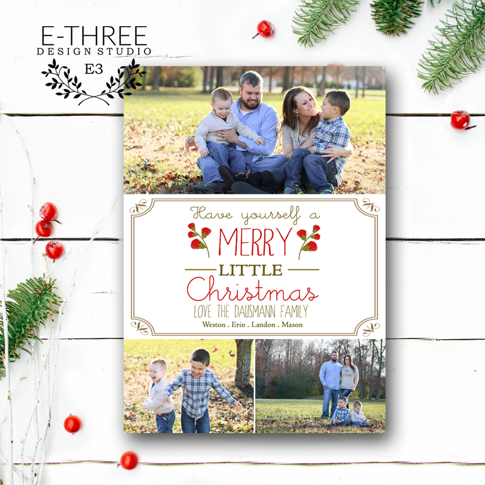 Rustic Christmas Card - Photo Holiday Card - Foliage - Have Yourself ...
