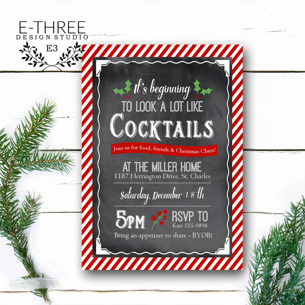 Cocktail Christmas Party Invitation Adult Holiday Party Invites