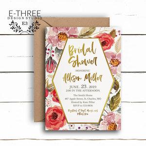2d543a4c6aef Modern Wildflower Bridal Shower Invitation - Geometric ...