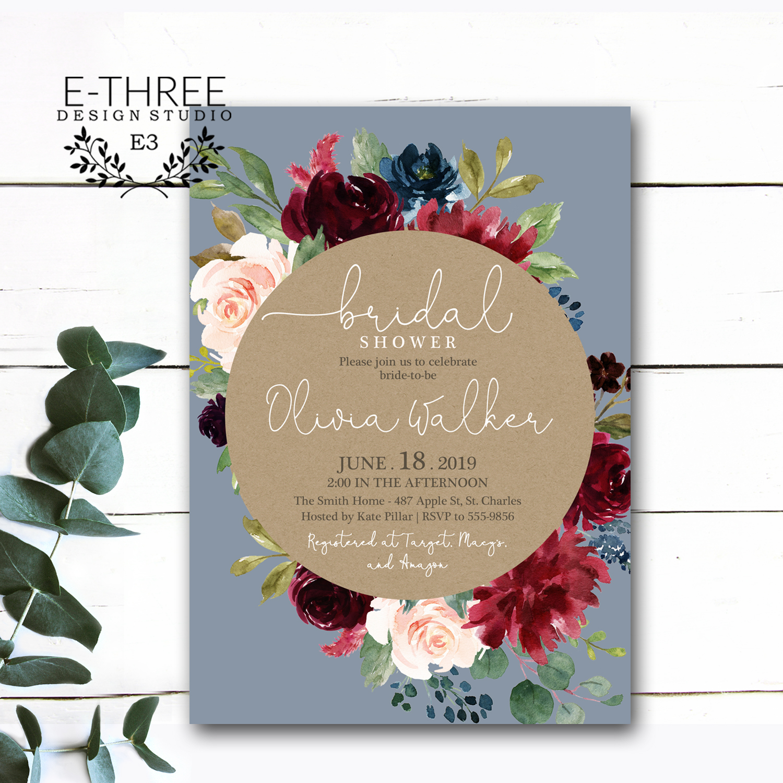5 X 7 Digital File Version Available Chevron Wedding Brunch Invitation