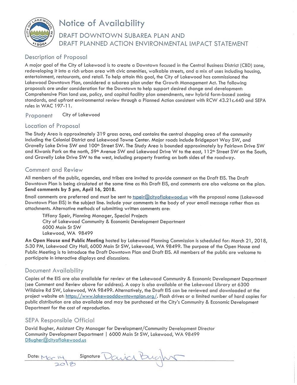 SEPA Notice of Availability