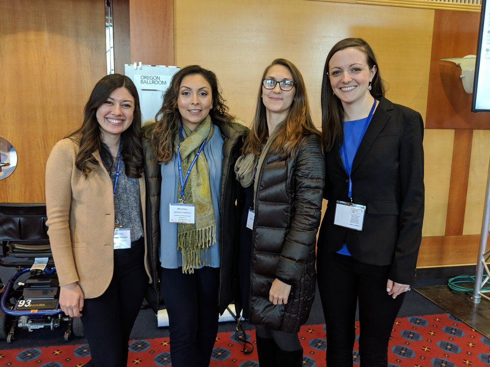 EHPL Lab Managers from 2011 - 2019:   (from right to left)  Kate Thorson, Helena Karnilowicz, Belinda Carrillo, and Kareena del Rosario.