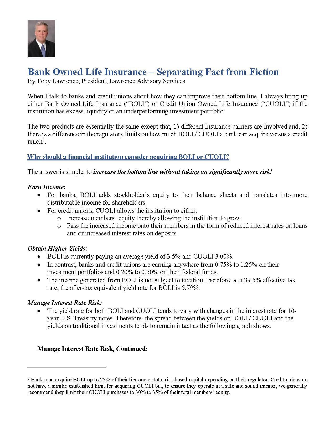 Bank Owned Life Insurance – Separating Fact from Fiction — Lawrence
