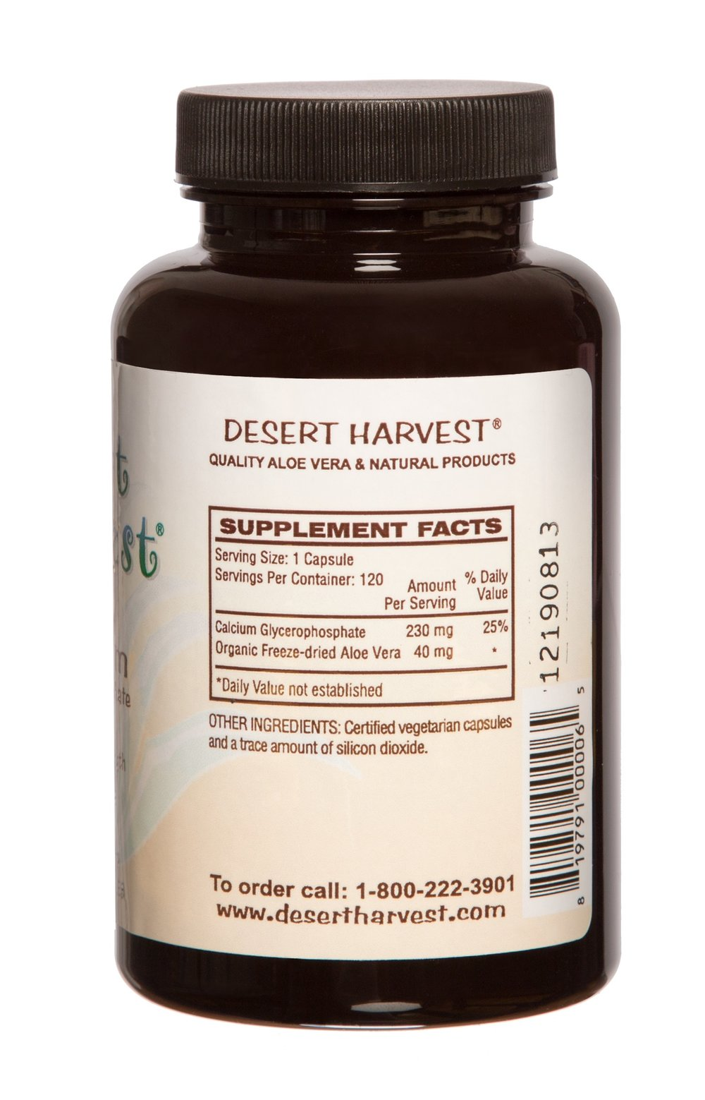 Only one capsule of Desert Harvest Calcium Glycerophosphate is required per serving, compared to two Prelief capsules.