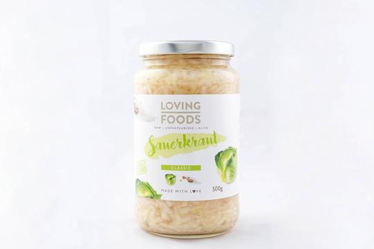 Loving Foods Sauerkraut looks similar to pickled cabbage and is very tasty!