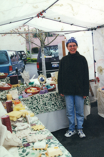 Selling handmade soap at a local farmers market.