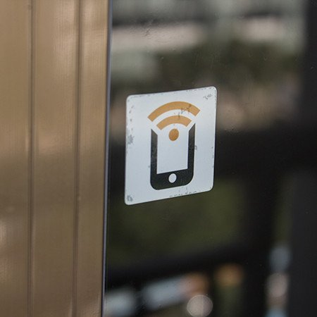 NFC window sticker showing through glass -