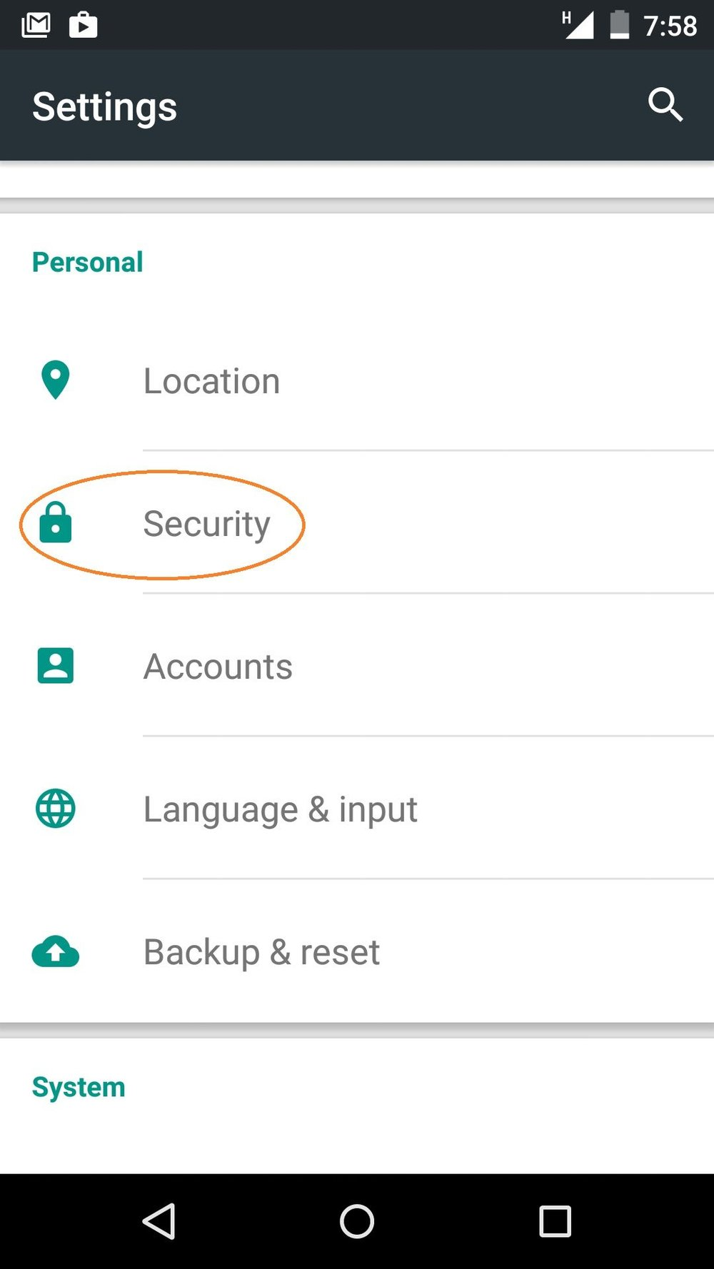- 1) Open your device's Settings menu. Under Personal, choose Security.