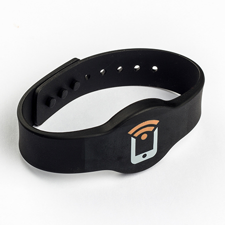 Silicone NFC wristband with two color silkscreen printing -
