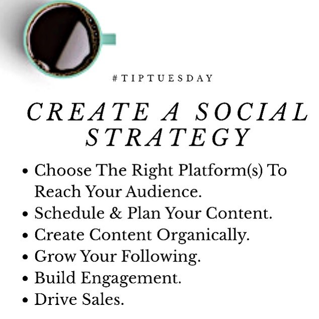 When starting a new business or side hustle, you should create a Social Media Strategy. How are you growing your business on social media? #worktogether #learn #grow #tiptuesday #tiptues #smallbusinessowner #entrepreneur  #smallbusiness #buildyourbrand