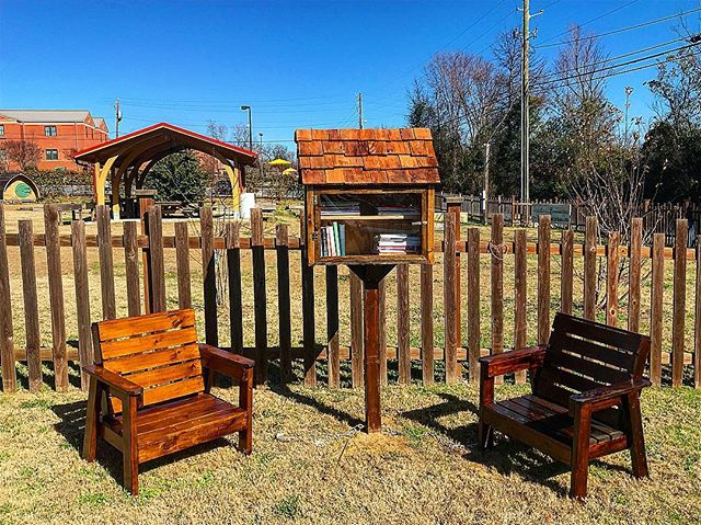 Come and check out the newest addition to the community garden: beautiful handmade Adirondack chairs, a little free library, and a new sign. Thank you to @tripp_vaughn  for this amazing Eagle Scout project!