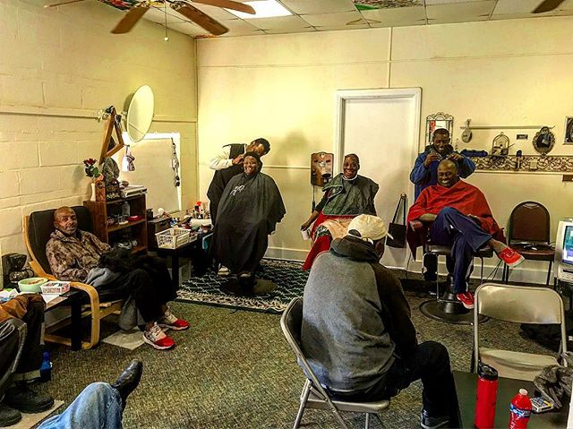 Resurrection: What was an empty room above the fellowship hall has turned into a pop up barbershop every Sunday morning at the community breakfast...we didn't even know the space was being used at first...sometimes it's better to ask forgiveness rather than permission 😂. Not pictured: the #bikeshop in the same room. Grateful for ministry that bubbles up.