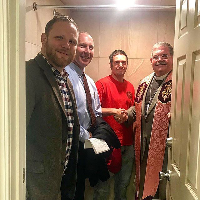So very grateful for funding from @sgaumc North Central District Board of Trustees and @cfcentralga for the funding to install these showers so that we can serve our friends in homelessness. Picture taken at the blessing of the showers. Rick Lanford's idea for everyone to pile into the shower together 😂