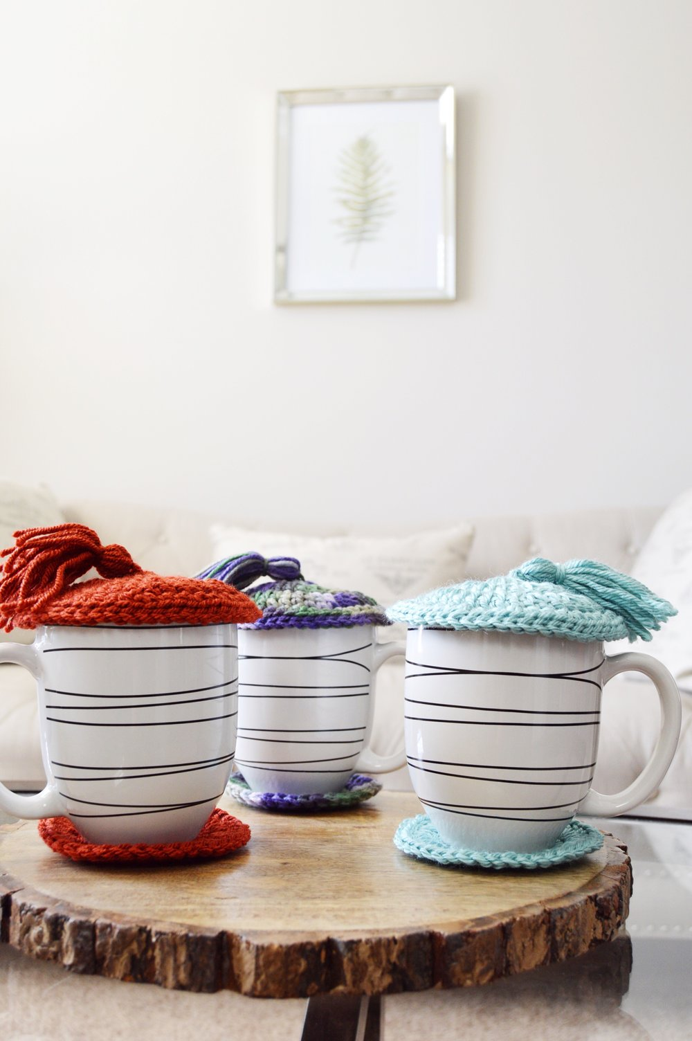 {The Magic of Coasters and Cup Lids}| Tired of your coffee or tea getting cold too quickly? These coasters and cup lids will help keep your drink warm and toasty. www.TheUrbanCountess.com