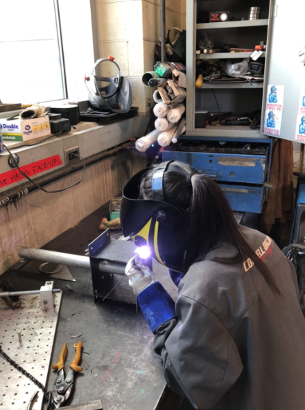 Image 3: Mel welding the box together