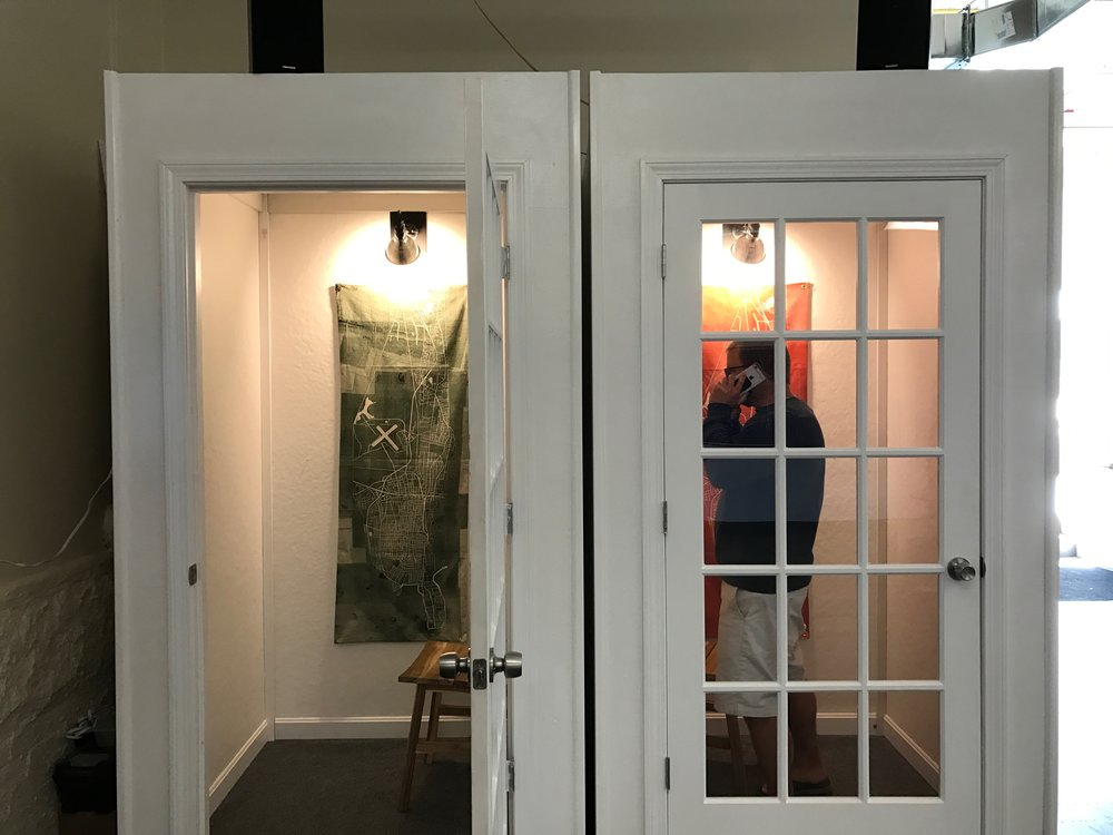 Groundwork! is now an official off-site location for the Center, and next month, we will install some kind of exhibition in these two phone booths in their lobby!