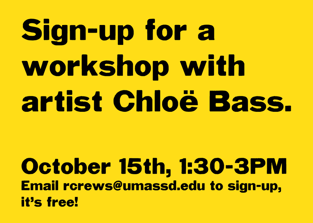 This Sunday, the Center is hosting a free workshop with artist Chloë Bass at the Star Store! Please sign-up ahead of time if you want to attend the workshop.