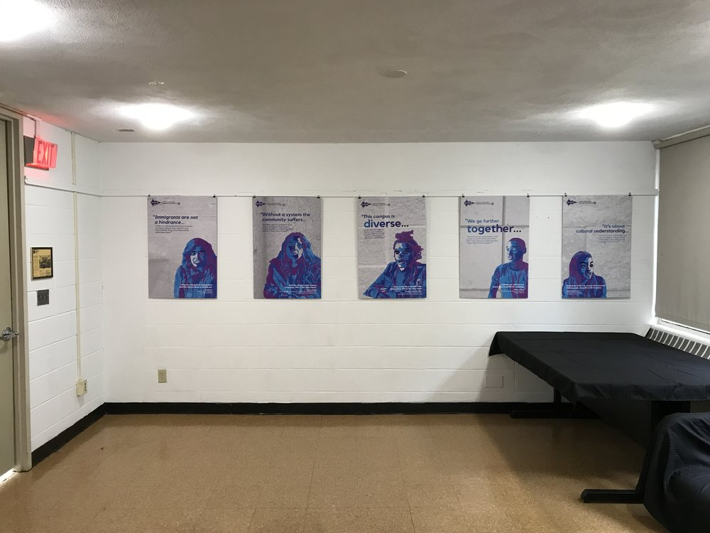 We installed the first exhibition of the year in the Chestnut Residence Hall! It's called Shared Voices and it was made by CVPA Alum Matthew Najarian with participation from 12 UMass Dartmouth students.