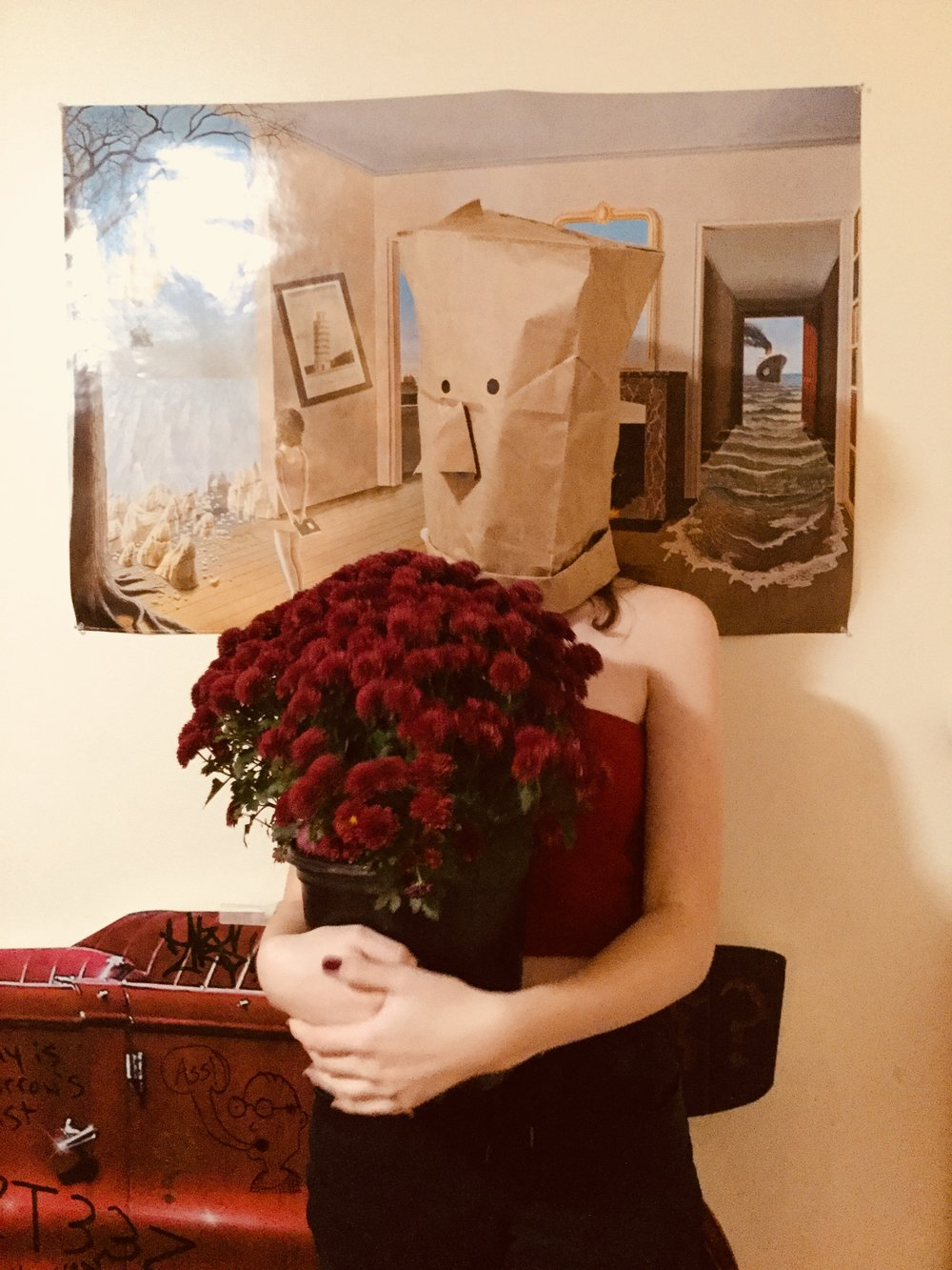 This week we finished our second newsletter, and Rachael is designing it as we speak! This photo taken by Addie Thibeault represents a new featured section that will appear in subsequent letters where she documents the fashion choices of students wearing bags on their heads.