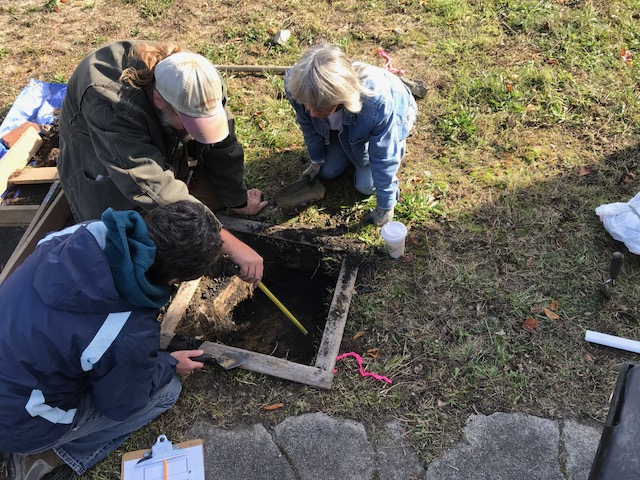 On Saturday, I volunteered at the Thornton House site dig organized by Lee Blake from the New Bedford Historical Society. This site is across the street from the Nathan and Polly Johnson House, and it will become the new Abolition Row Park!