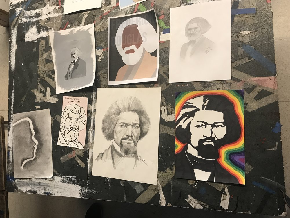On Wednesday, join us for a celebration of the 200th anniversary of Frederick Douglass' birthday at the Frederick Douglass Unity House from 4-6PM! We've put together an exhibition of portraits of FD for the event. Artwork by: Bhen Alan, Cody Oliveira-Gingras, Caitlyn Barbosa, Sydney Brake, Lydia Collins, Delvina Driscoll, William Hart, Morgan Lobo, Nina Nguyen, Tess Oldfield, Darley Garcia, Mae Pacine, Gina Pantalone, Hanna Rabstejnek, Alaia Rios, Ben Urdi, and Ally Watts.
