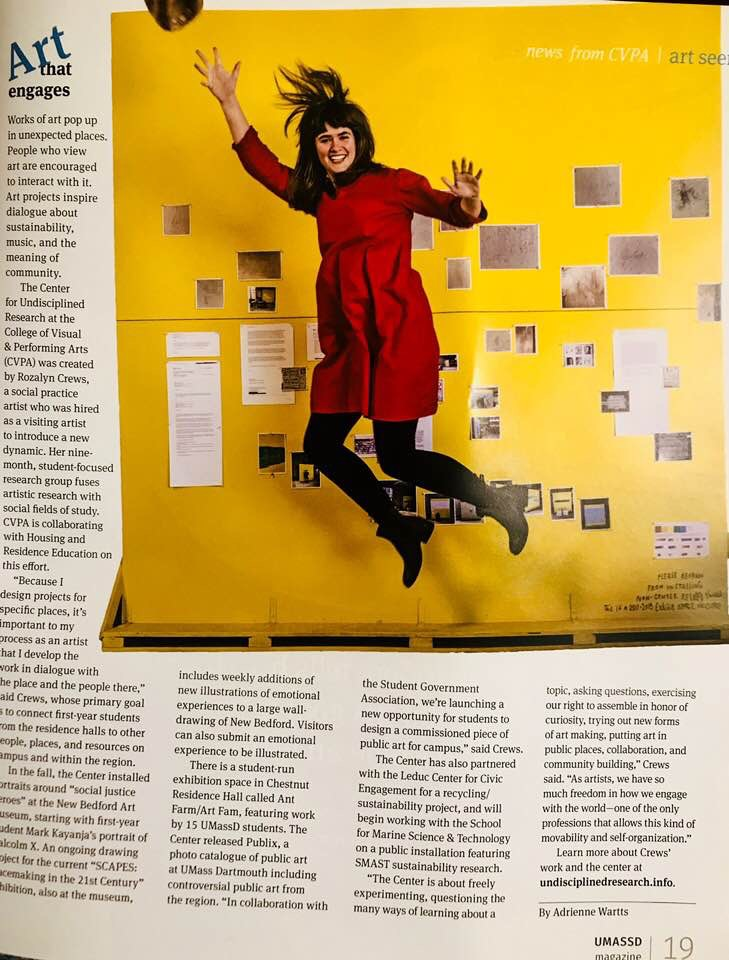 Adrienne Wartts wrote an article about the Center for the UMass Dartmouth alumni magazine. Here's a link to the online article: https://www.umassd.edu/feature-stories/2018/rozalyncrews.html