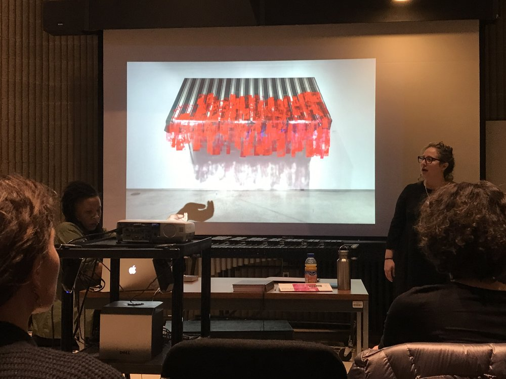 The painting and printmaking club and the figure drawing club brought Tomashi Jackson for a public lecture on Friday April 6th! She discussed how her research about Brown vs. Board of Education enters into her practice as a painter.