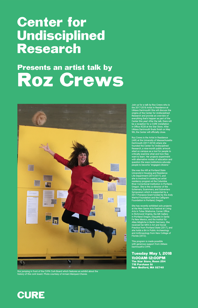Next Tuesday May 1st, 11AM in Star Store room 254, come hear Roz talk about the origins of CURE, and at noon, you can check out the CURE installation in room 228!
